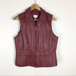Apt 9 Vest Red Lambskin Leather Size M